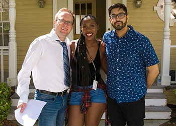 Arek Zasowski on the filmset at the Universal Studios Hollywood backlot. In picture with talented actors Tilifayea Griffin and Sumit Sharma.